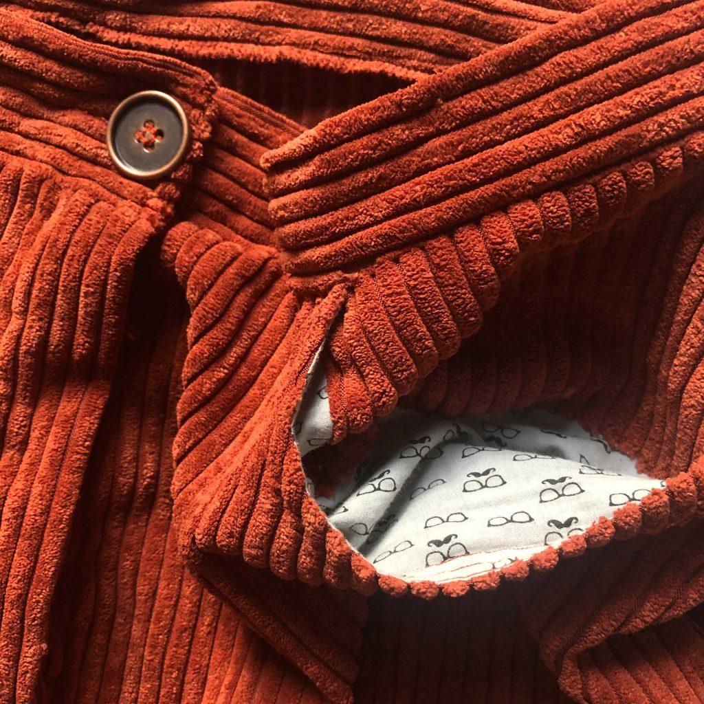 Doublure des poches, jupe Anna de Fibremood, velours côtelé